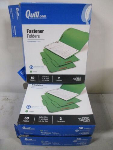 (150-CT) Quill Green Fastener Folders 2 Fasteners Letter 3 Boxes
