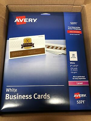 Avery Laser Microperforated Business Cards 2 X 3 12 White 250 Cards New