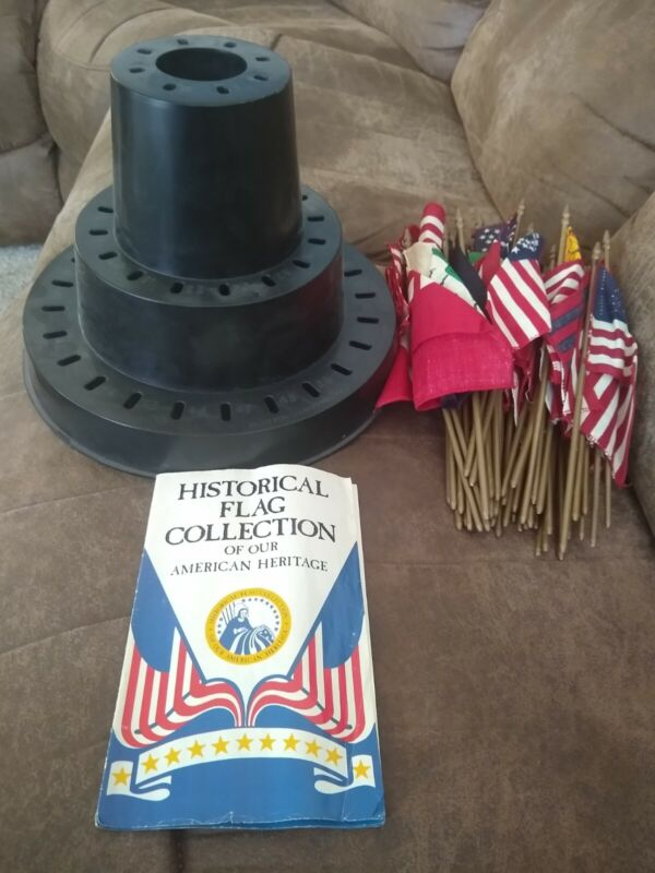 Historical flags collection bicentennial with carousel flag stand