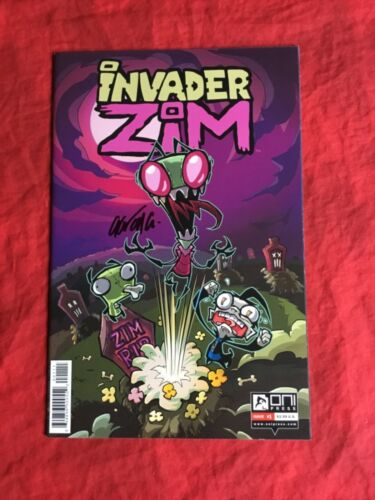 INVADER ZIM #1~1st PRINT~SIGNED BY AARON ALEXOVICH~ONI PRESS COMICS BOOK~OOP~B