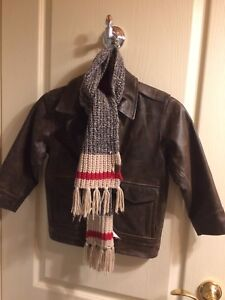 Kids XS (4) Gap Leather Jacket w ROOTS Scarf