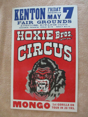 VINTAGE Kenton Fair Grounds Ohio Hoxie Bros. Circus Poster *