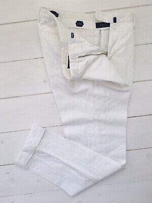 £275 BNWOT Incotex Chinolino Trousers Linen Cotton Off White Chino 48 32 Slowear