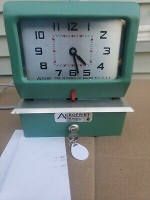 Acroprint 150nr4 Punch Card Time Clock System With Key