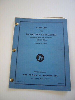 Ih Hough Ho Front-end Wheel Pay Loader Tractor Parts Catalog Manual List 22a23a
