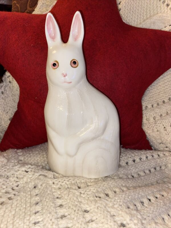 RARE N S Gustin Co Hand Decorated White Textured Ceramic Bunny Rabbit Glass Eyes