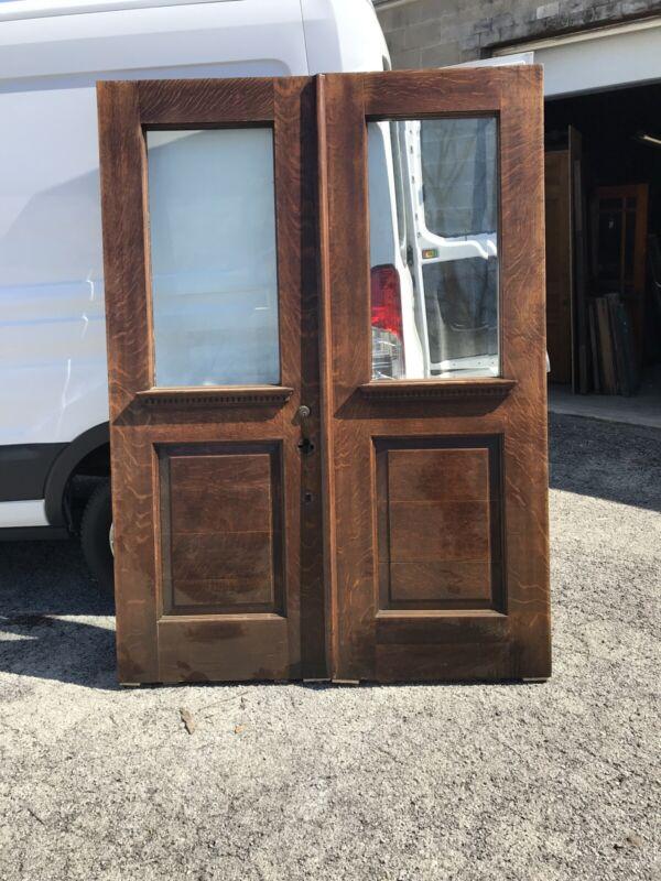 Bova 27 Refinished Pair 1/4 Sawn Oak Beveled glass double door 5' x 83.25