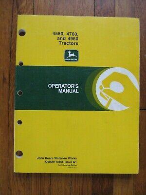 John Deere 4560 4760 4960 Tractor Operators Manual Original