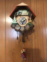 Vtg German Cuckoo Clock Wall Hanging Swing Girl Forest Helmut Kammerer