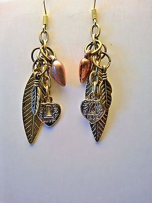 - Feather, silver keyhole Heart, copper 3D heart, & small feather Dangle Earrings