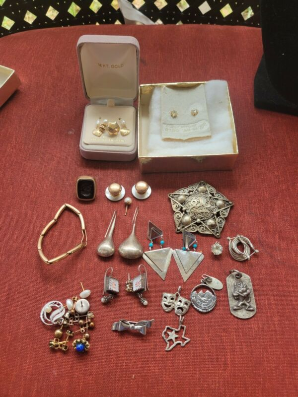10K 14K YELLOW Gold And Sterling Silver Jewelry Lot 4 scrap 60 grams BB1