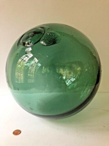 "Antique Green Glass Ball Sphere Fishing Float 11"" Nautical  Vtg Cottage Decor"