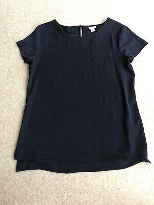 J.CREW Navy Casual Smart Short Sleeve Top Ladies UK S