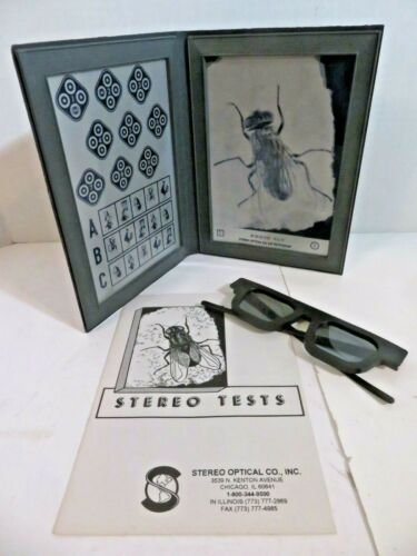 Stereo Optical Fly Test with Glasses and Instructions Optometry