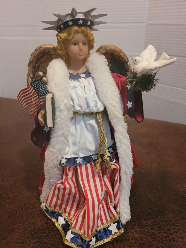 Fabriche Kurt S Adler AMERICAN ANGEL US Patriotic Tree Topper USA