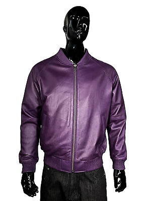 Jakewood Men's Purple Genuine Lambskin Leather Baseball Bomber Jacket, Size 2XL
