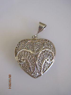 Fancy Puffed Heart - 925 Sterling Silver Fancy Cut Puffed Heart Pendant  #C570