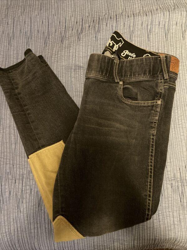 Goode Rider Breeches Full Jean Denim Blue Tan Ladies Size 32 Long