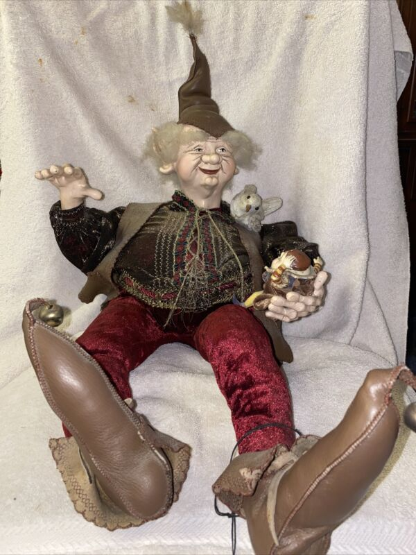"OOAK Patricia Hinch Originals Artist Doll Woodland Elf Holding Humpty Dumpty 26"""