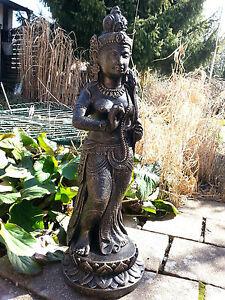 XXL Shiva DEWI SRI Buddha stehend Lavastein Stein Statue schwarz gold ca. 70 cm