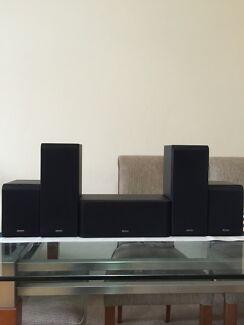 DENON 5.1CH 3D COMPATIBLE SURROUND SOUND SPEAKERS & SUBWOOFER  Neutral Bay North Sydney Area Preview