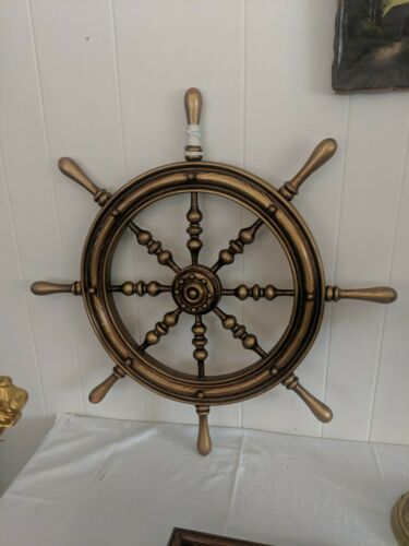 "Vintage 28 1/2"" Wooden Decorative Ships Wheel Brass Boat Nautical Decor"