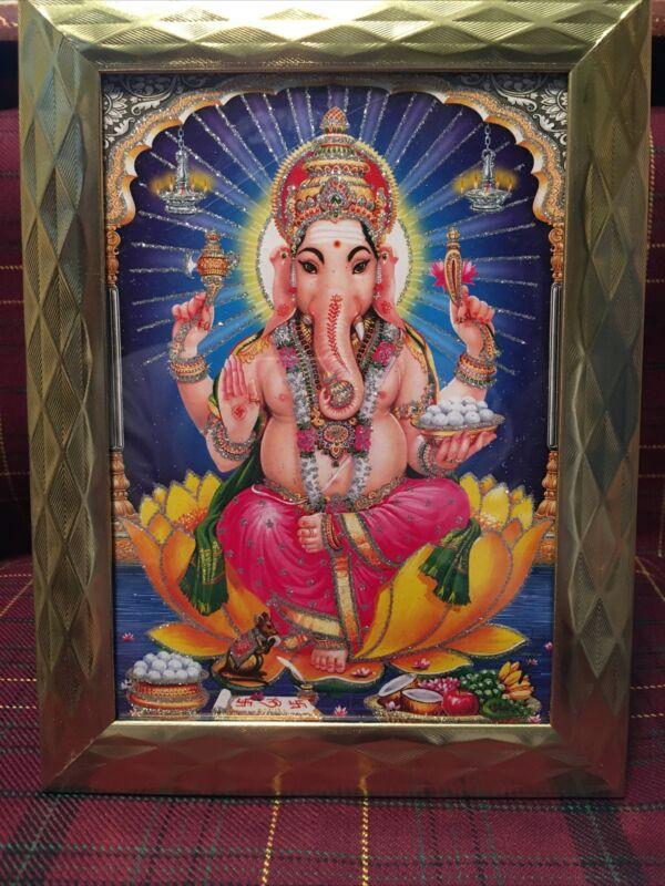 Framed God Ganesh 5x7 Glitter Photo Poster Painting Hindu