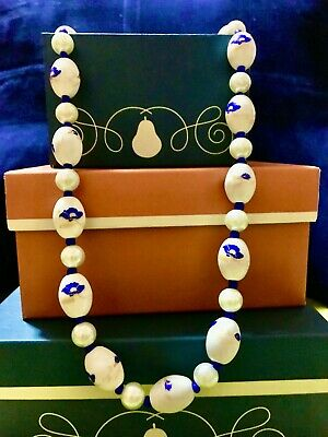 "OOAK Blue & White 12"" Porcelain Ceramic Necklace & Earrings Set/Fashion Jewelry"