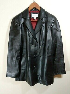 Leather Jacket black jacket by Worthington tbutton up lined Womens PETITE L