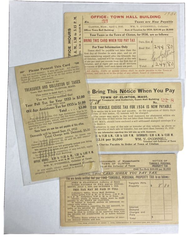 Vintage tax bill postcards. Clinton MA 1930s Poll, old age, motor vehicle