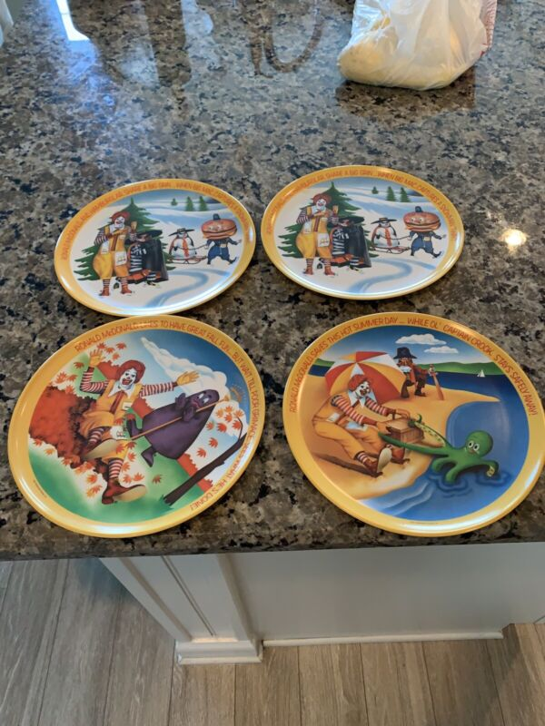 Lot of Vintage Ronald McDonald Four Seasons Plates from 1977 - Complete Set of 4