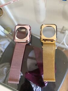 Size 42 Apple Watch protective casing and bands - Pink and Gold
