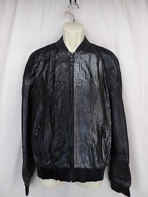 NWT VERSACE A58670 BLACK LEATHER SEQUIN EFFECT ZIP BOMBER JACKET 54 ITALY $5270