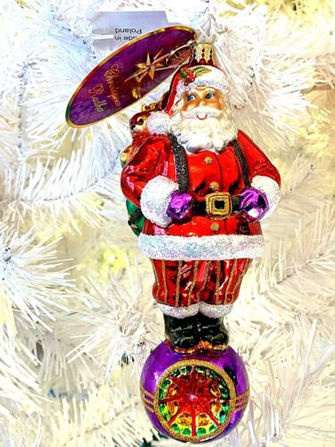 "Christopher Radko CHRISTMAS REFLECTIONS Santa Reflector Ball Drop 1016547 NWT 7"""