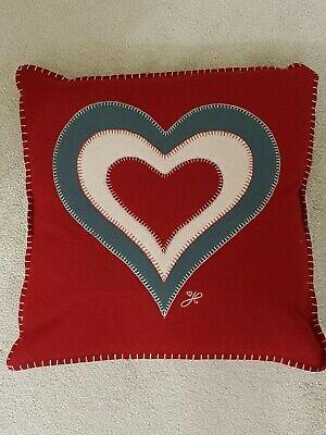 BNWT Jan Constantine Red, Cream & Grey Appliqued Heart Red Wool Cushion