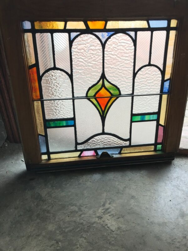 Sg 3224 Antique Stained And Textured Glass Window 22.2 5W By 21.25 High