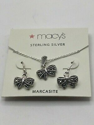 Macy's Sterling Silver Marcasite Butterfly or Bow Design Earring & Necklace Set