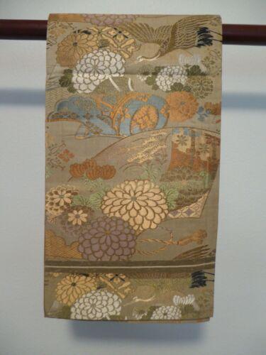 #77 Japanese Maru Obi,  Cranes & Chrysanthemums
