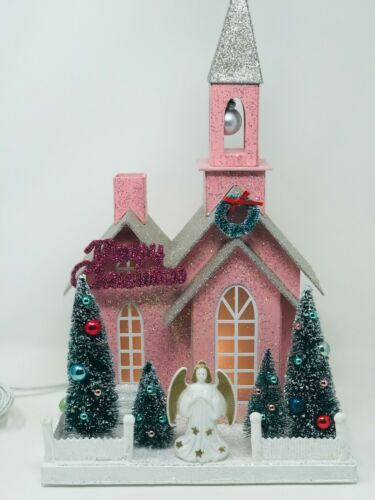 HUGE, Pink cardboard Christmas/Glitter Village/Putz Church w/REAL vintage trim!
