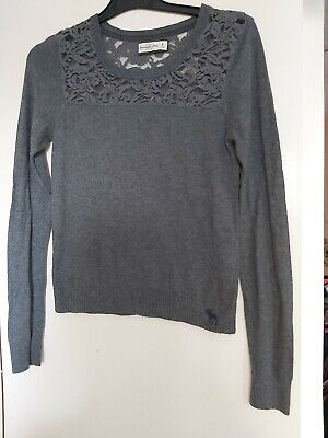Abercrombie And Fitch Womens Size M Blue/grey coloured Ladies Top with lace back