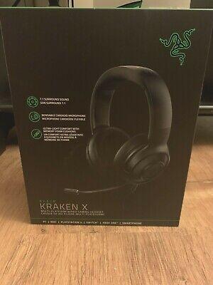 NEW! NiB RAZER KRAKEN X WIRED GAMiNG HEADSET 7.1 SURROUND SOUND HEADPHONES BLACK