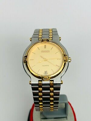 GUCCI 9000M Quartz Ladies Swiss Luxury Two Tone Watch Stainless Steel Vintage NR