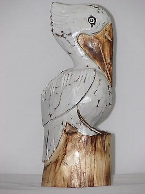 PELICAN ON PILING WEATHERED PAINTED WOOD TROPICAL SCULPTURE BIRD DECOR