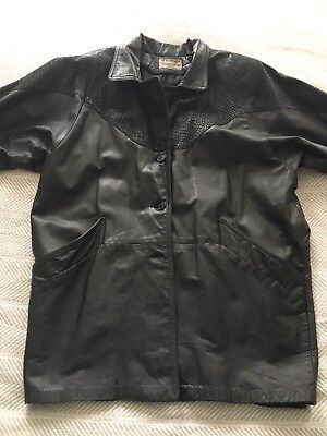 Vintage 80s Black Leather Coat Northside Fashions Faux Snakeskin Sz 15 ILGWU