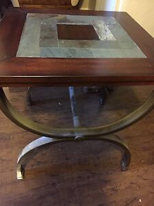 3 slate and wood end tables and matching console/hall table