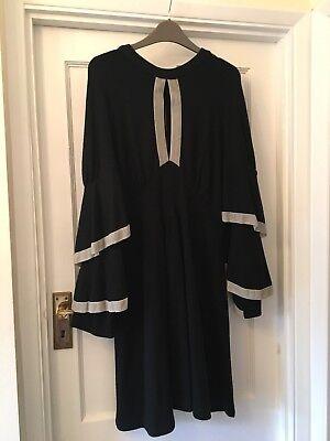Jill Stuart Black & Grey Velvet Trim Open Back Party Vintage Look Dress,12/14