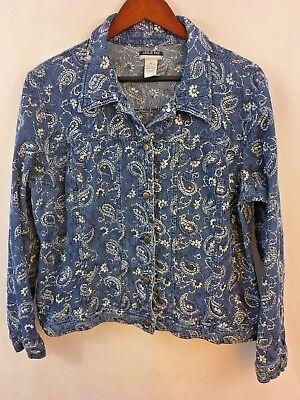 Leslie Fay Vintage Blazer Jacke Mantel Paisley Strukturiert Blau Weiß Größe XL Paisley Vintage Mantel