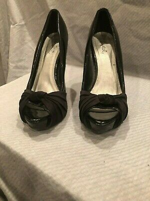 WOMEN'S QUPID SHOES BLACK PATENT LEATHER STILETTO SPIKE OPEN TOE HEELS SIZE 7
