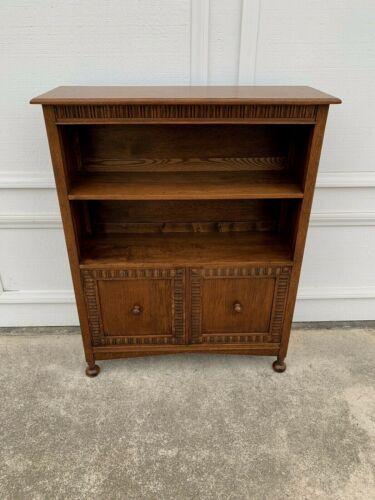 Antique English Solid Oak Bookcase