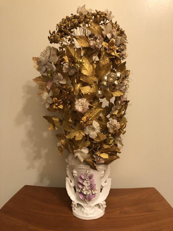Old Vieux Paris Spill Vase w Original Tall Flowers from 19th C Wedding Globe